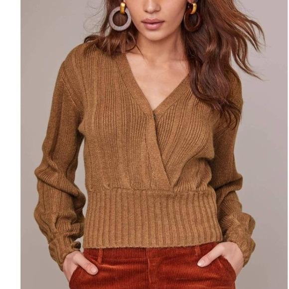 ASTR The Label Evie V Neck Wrap Sweater in Camel